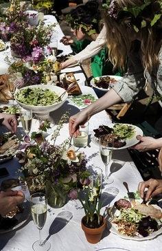table en fleurs